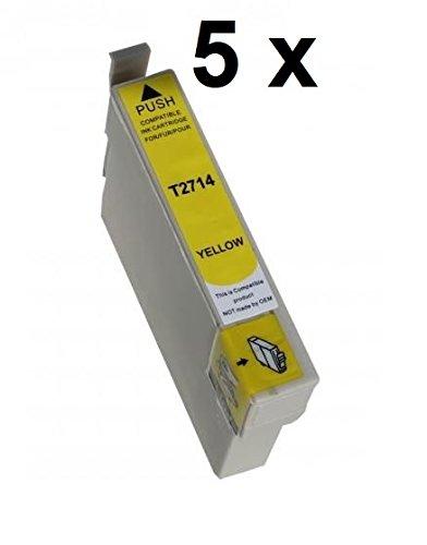 5 cartucce T27 yellow XL per Epson WorkForce WF-3620 DWF, WF-3620 WF, WF-3640 DTWF, WF-7110 DTW, WF-7210 DTW, WF-7610 DWF, WF-7615 DWF, WF-7620 DTWF, WF-7710 DWF, WF-7715 DWF, WF-7720 DTWF