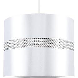 MiniSun Abat-Jour pour Suspension 'ROLLER' Design Contemporain - Tambour Finition en Tissu Blanc Décoré avec Diamante. Cordon électrique Non-Fourni