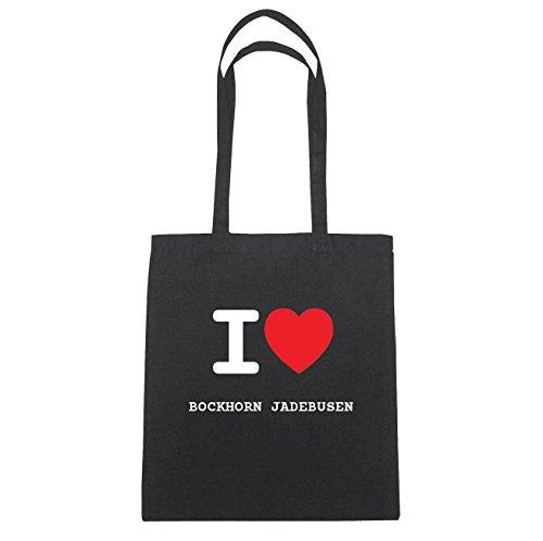 JOllify Bockhorn Jade Busen di cotone felpato b2640 schwarz: New York, London, Paris, Tokyo schwarz: I love - Ich liebe