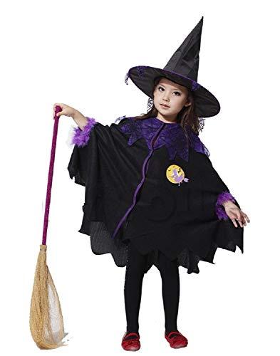 Lovelegis Größe S (100-110 cm) - Hexenkostüm - Kleines Mädchen - Verkleidung Karneval Halloween Cosplay Zubehör