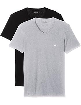 Emporio Armani Herren 2Pack V-Neck V Ausschnitt T-Shirts 111648 CC722 Vorteilspack