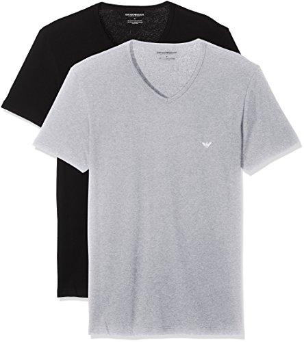 Emporio Armani Underwear Herren 111648CC722 Schlafanzugoberteil, Mehrfarbig (NERO/GRIGIO MELANGE 97120), Small (erPack 2