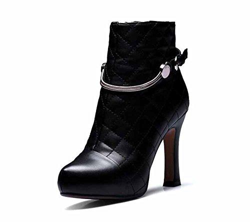 Donne Moda Stivaletti Autunno Inverno Nuovo Cintura Fibbia Tacco Alto Pompe Impermeabile Piattaforma Pelle Corto Stivali Black