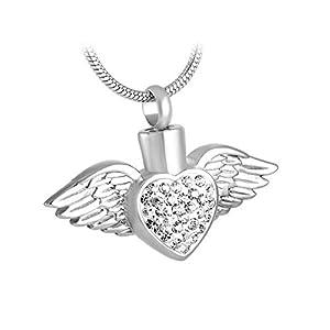 NWZW Engel Flügel Herzform Edelstahl Silber Feuerbestattung Halskette Parfüm Urne Andenken für Asche,Silver