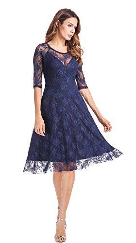 Clasichic Damen Spitzen Abendkleid Festlich Hochzeit Cocktailkleid 3/4 Ärmeln Sommerkleid Rockabilly Kleider Knielang, Schwarz/Blau Blau
