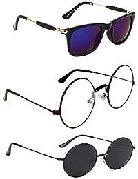 "466a1ffbf58 Criba UV Protected Rectangle and Round Unisex ""Sunglasses Combo of 3"" -  (Criba 2 Set3 Sunglss 6"