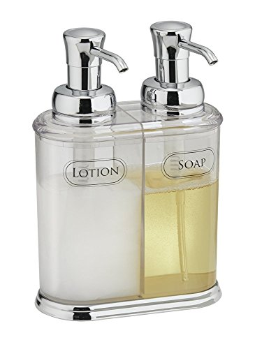 mDesign Refillable Soap Dispenser Duo - Double Pump Soap Dispenser - Hand Wash Dispenser - Made of Plastic with Chrome Pump Head - approx. 350 ml Capacity - for Kitchens & Bathrooms