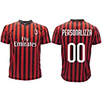 Maglia Milan Home Replica Ufficiale Autorizzata 2019 2020 Personalizzata con Nome E Numero Personalizzabile (L)