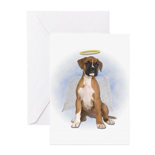 CafePress-Engel Boxer Puppy-Grußkarte, Note Karte, Geburtstagskarte, innen blanko, glänzend -