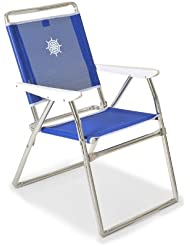 """FORMA MARINE folding camping chair """"Classic"""" Frame: anodized aluminium tube Ø 25mm, Fabric: Textilene 650gr/m2, white. For garden, outdoor, relax, chair PA160B"""