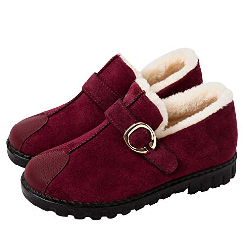 Winter Snow Boots Female High To Help Thickening Plus Velvet Lazy Boots Wild Flat Bottom Suede Schuhe Non-Slip, Warm, Red, Black, Brown,Red,38