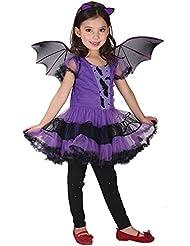 Covermason Niña Halloween Conjunto - Vestidos y Sombrero Bruja Vestirse para 2-15 Años