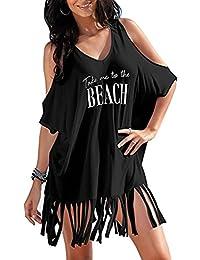 L-Peach Pareo con Borla Túnica de Playa Beach Bikini Cover Up Hombros Desnudos de Algodón para Mujer