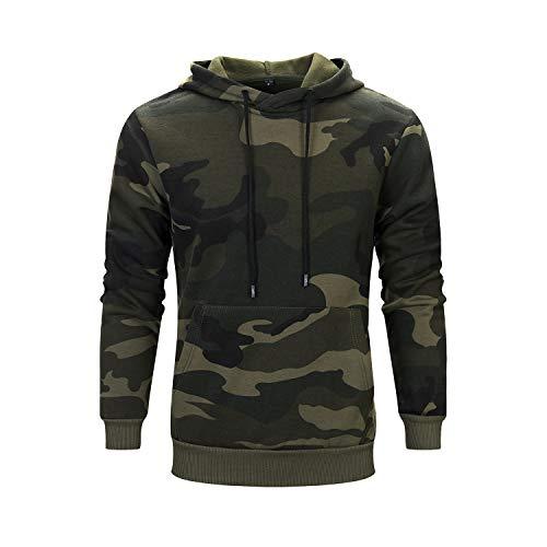 Herren Pullover Fleece Sweatshirt Camouflage Hoodies (Grün, Größe L)