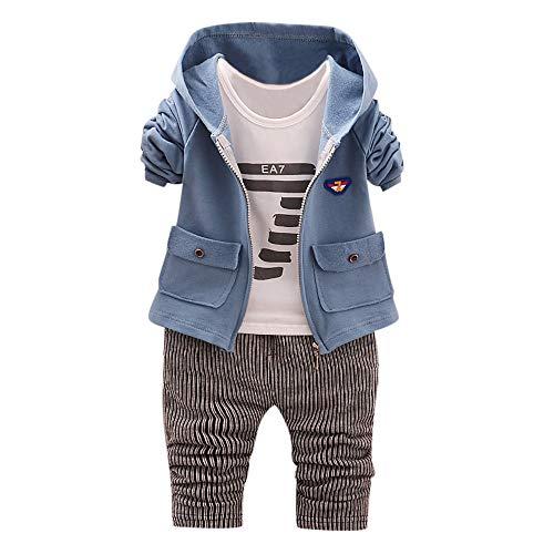 BaZhaHei Bambini,3pcs Set Giacca con Cappuccio + Pantaloni+ T-Shirt Inverno Abbigliamento Unisex Bambine E Bambino-0-24 Mesi