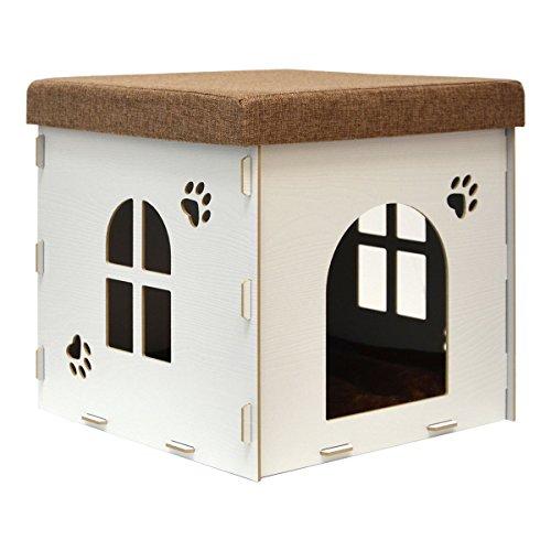 eyepower Caseta para Perro Gato 41x41x41cm talla mediana M cama caja cuadrada para mascota con tapa acolchada para sentarse puf escabel Blanco