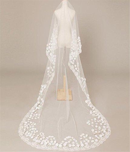 ELEGENCE-Z Wedding Schleier, Spitze Blütenblätter Single-Layer-Hochzeitskleid Zubehör 3 Meter...