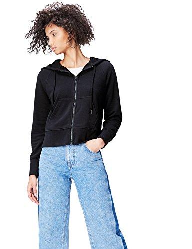 FIND Damen Kapuzenpullover mit Reißverschluss Schwarz (Black), 38 (Herstellergröße: Medium)