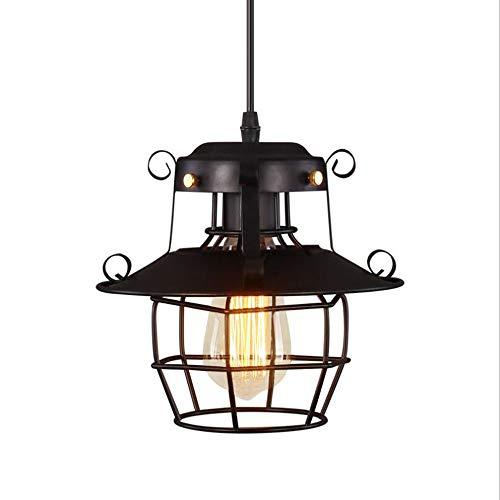 Industrielle Suspension Luminaire Cage en Métal, Vintage Lustre Abat-jour 23cm Rétro Plafonnier E27 Eclairage, Noir