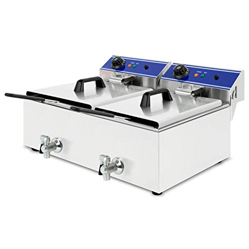 vertes Friteuse 2x10L (2x3000 Watt, température réglable jusqu'à 200°C, électrique 230V, capacité 2x5,5L d'huile, principe des zones froides, vanne de vidange, fonction reset, acier inoxydable)