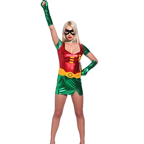 Robin Girl Gr.L Damen Halloween Kostuem Superheldin Sexy Woman hero f. Karneval Party (Halloween Kostüme F)