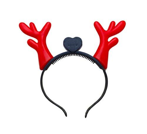 TK Gruppe Timo Klingler Weihnachtsmütze Nikolausmütze Haarreif blinkend REH Rentier Geweih LED Rentiergeweih Kostüm Premium rot für X-Mas (Rentier LED)