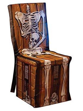 Housse chaise plastique squelette 45 x 140 cm Halloween