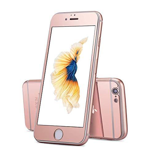 VAPIAO Spiegel Panzerglasfolie kompatibel mit iPhone 7 verspiegelter Rundum Schutzglas Mirror Glas in Rose Gold