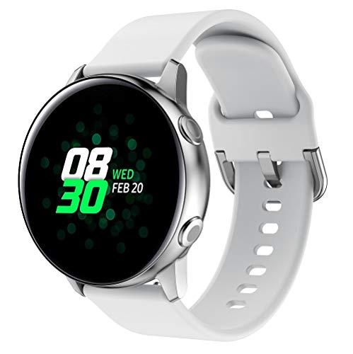 20mm Universal Uhrenarmband, Weiche Silikon-Uhrenarmbänder Schnellverschluss Einstellbare Ersatz Uhrenarmbänder für Männer und Frauen (Weiß)