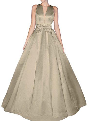Gorgeous Bride Sexy Brautkleider LangV-Ausschnitte A-Linie Satin Abendkleider Lang Festkleider Ballkleider Grau