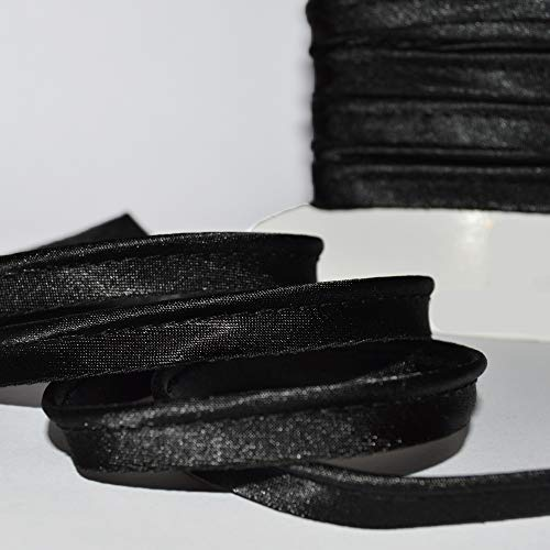 designers-factory Black Cotton Piping with Black Stitching Par 5 m/ètres