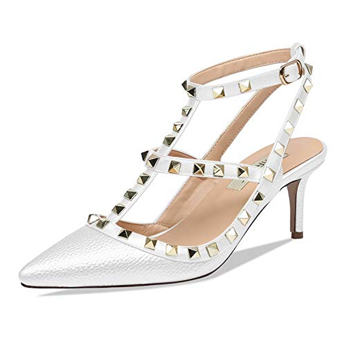6869190f986d9 Chris-T Women Pointed Toe Studded Strappy Slingback Kitten Heel Leather  Pumps Stilettos Heeled Sandals White Pattern/White Strap Size 9US