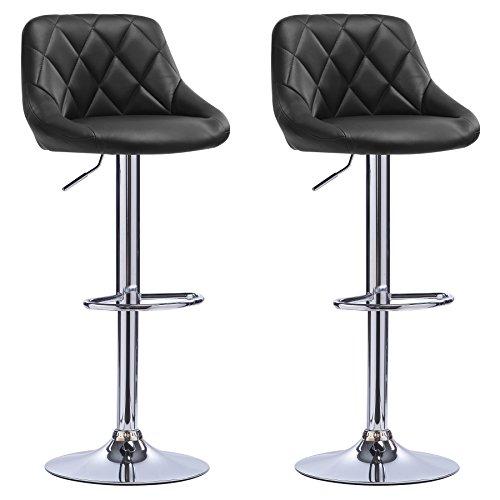 Woltu bh23sz-2 coppia sgabelli da bar moderni girevoli sedia cucina alta con schienale quadrato senza braccioli altezza regolabile in ecopelle nero