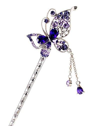 Violet Beau Papillon style rétro glands alliage Pin Accessoires cheveux