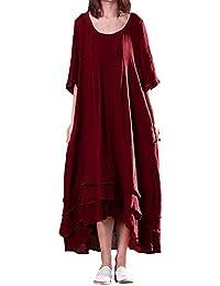 ACHIOOWA Mujer Vestido Largo Cuello Redondo Manga Media Dress Punto Linea A Bolsillo Plisado Túnica Elegante Swing Casual Suelto Talla Grande Falda Caftán