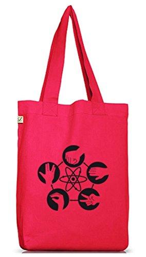Shirtstreet24, Atom - Stein Schere Papier, Jutebeutel Stoff Tasche Earth Positive Hot Pink