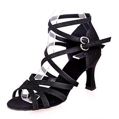 Silence @ Chaussures de danse pour femme Paillettes étincelante Paillettes scintillantes latine Sandales Talon évasé Practise/intérieur/Performanceblack/ doré