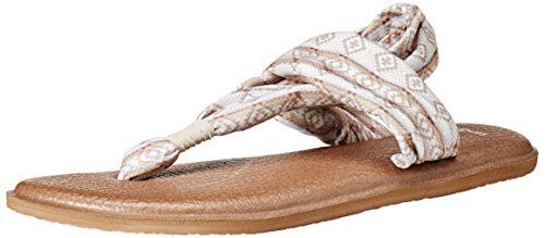 Sanuk Women's Yoga Sling 2 Prints Flip Flop, Natural/Multi Tribal Stripe, 7 M US -