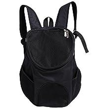 Bolsa de Hombro Portátil Para Mascotas Mochila de Mascotas Transpirable Portador de Viajes Aire Libre Para Mascotas Perro Gato Conejo(Negro)