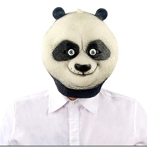 Halloween Weihnachten Maske Tier Maske Kopfbedeckung Performance Requisiten Maske Kung Fu Panda Latex Erwachsene voll eingewickelte Kopfbedeckungen Masken (Color : Black, Size : 29CM/11inch) (Erwachsene Kung Fu Panda Kostüme)