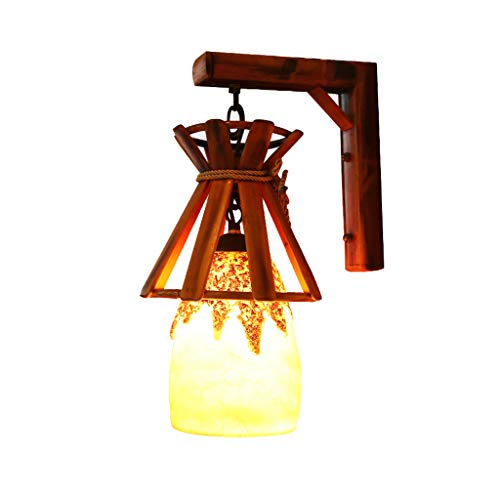 Applique murale en bois massif Aisle Cafe Bar Light, lampe en résine Lampe en bambou bambou Lampe murale créative