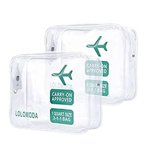 Lolomoda 2pcs Clear Toiletry Bag TSA Approved Travel Carry On Compliant Bag Quart Sized 3-1-1 Kit Luggage Pouch Airport Airline Compliant Bag | Carry-On Luggage Travel Backpack for Liquids/Bottles