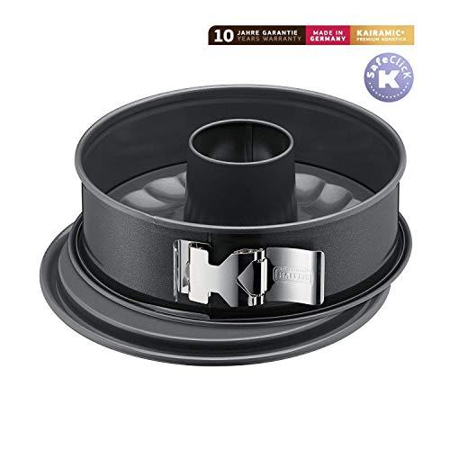 Kaiser La Forme Plus Springform, 26 cm rund, 2 Böden, Flach- und Rohrboden, runde Backform, SafeClick-Verschluss, Emailleboden, antihaftbeschichtet, schnittfest, auslaufsicher