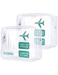 Trousse de Toilette Transparente, Kit de Voyage pour l'Avion, Set de Voyage dans Bagages à Main, Sac Cosmétiques pour Hommes et Femmes TSA Sac de Transport Conforme à la Norme (Paquet de 2)