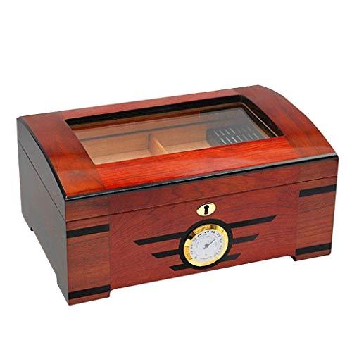 Jolly Humidor de Puros de Cedro, Caja de Puros de Cuero con higrómetro y humidificador portátil Humidor de Puros de Viaje para 100 cigarros