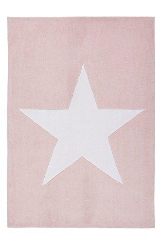 Kinderteppich Handgefertigt Puderrosa Teppiche Stern Motiv Hochwertig, Größe:120cm x 170cm