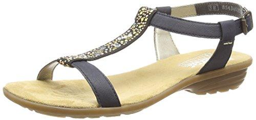 Rieker V3484 Women Open Toe, Damen Sandalen, Blau (pazifik/schwarz/14), 41 EU - Schuhe Toe Kleid Schwarz Open Damen
