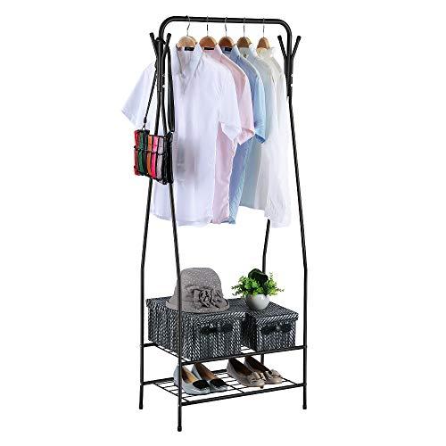 HOME BI Kleidung Garment Rack, 2-stöckig Metall Regal Coat Organizer Storage Regal Diele Lagerung Ständer mit hängenden Stange und 4Haken für Kleidung, Taschen schwarz (Coat-rack Storage)