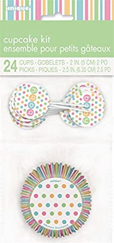 Pastel Baby Shower Cupcake Cases and Cupcake Toppers Kit for 24