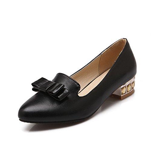 VogueZone009 Damen Weiches Material Ziehen auf Rund Zehe Niedriger Absatz Pumps Schuhe, Schwarz, 35